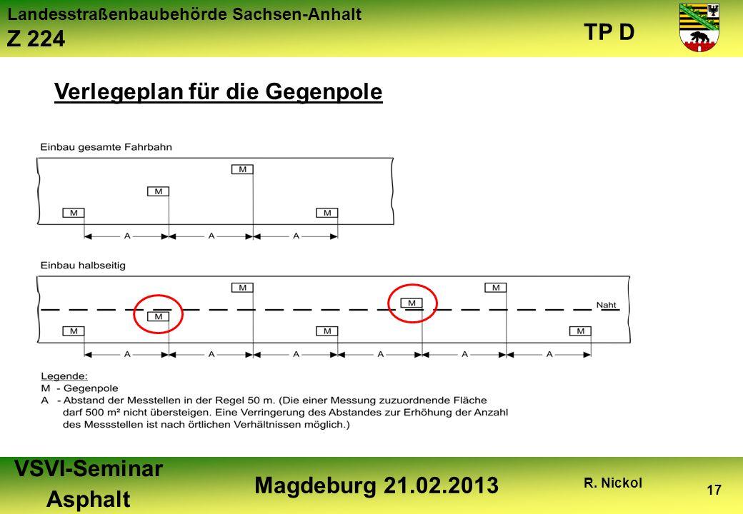 Landesstraßenbaubehörde Sachsen-Anhalt Z 224 TP D VSVI-Seminar Asphalt Magdeburg 21.02.2013 R. Nickol 17 Verlegeplan für die Gegenpole