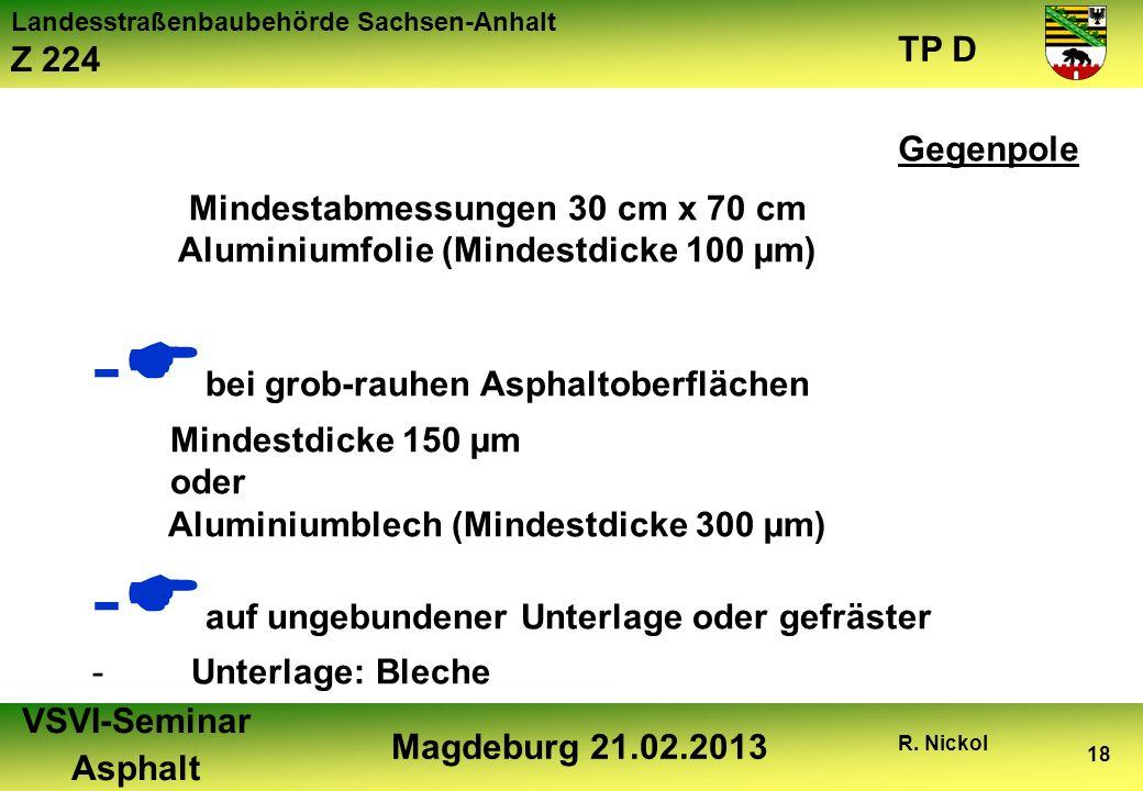 Landesstraßenbaubehörde Sachsen-Anhalt Z 224 TP D VSVI-Seminar Asphalt Magdeburg 21.02.2013 R. Nickol 18 Mindestabmessungen 30 cm x 70 cm Aluminiumfol