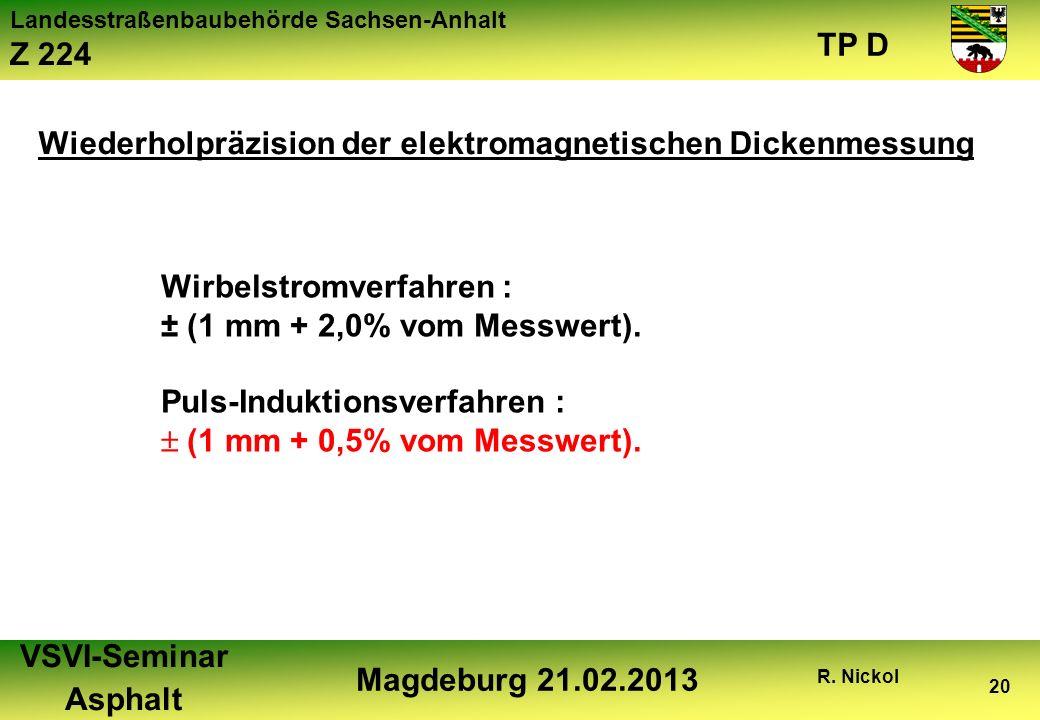 Landesstraßenbaubehörde Sachsen-Anhalt Z 224 TP D VSVI-Seminar Asphalt Magdeburg 21.02.2013 R. Nickol 20 Wirbelstromverfahren : ± (1 mm + 2,0% vom Mes
