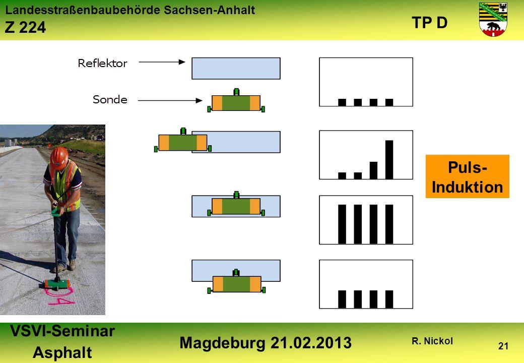 Landesstraßenbaubehörde Sachsen-Anhalt Z 224 TP D VSVI-Seminar Asphalt Magdeburg 21.02.2013 R. Nickol 21 Puls- Induktion