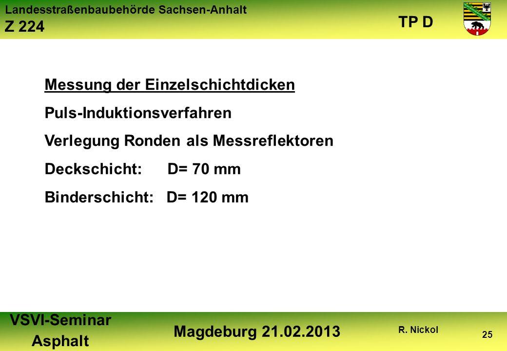 Landesstraßenbaubehörde Sachsen-Anhalt Z 224 TP D VSVI-Seminar Asphalt Magdeburg 21.02.2013 R. Nickol 25 Messung der Einzelschichtdicken Puls-Induktio