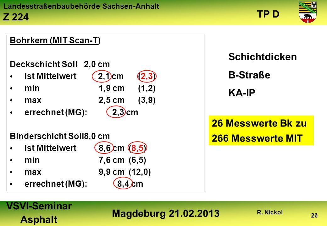 Landesstraßenbaubehörde Sachsen-Anhalt Z 224 TP D VSVI-Seminar Asphalt Magdeburg 21.02.2013 R. Nickol 26 Bohrkern (MIT Scan-T) Deckschicht Soll2,0 cm