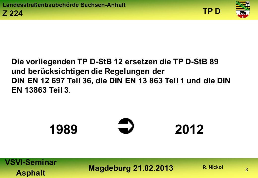 Landesstraßenbaubehörde Sachsen-Anhalt Z 224 TP D VSVI-Seminar Asphalt Magdeburg 21.02.2013 R. Nickol 3 Die vorliegenden TP D-StB 12 ersetzen die TP D