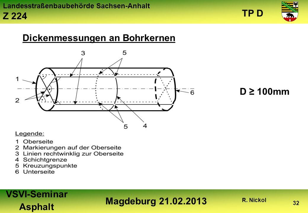 Landesstraßenbaubehörde Sachsen-Anhalt Z 224 TP D VSVI-Seminar Asphalt Magdeburg 21.02.2013 R. Nickol 32 Dickenmessungen an Bohrkernen D 100mm