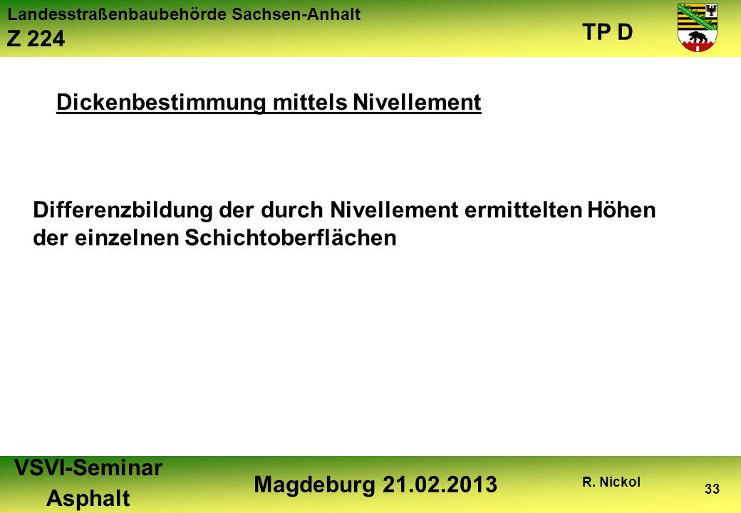 Landesstraßenbaubehörde Sachsen-Anhalt Z 224 TP D VSVI-Seminar Asphalt Magdeburg 21.02.2013 R. Nickol 33 Dickenbestimmung mittels Nivellement Differen