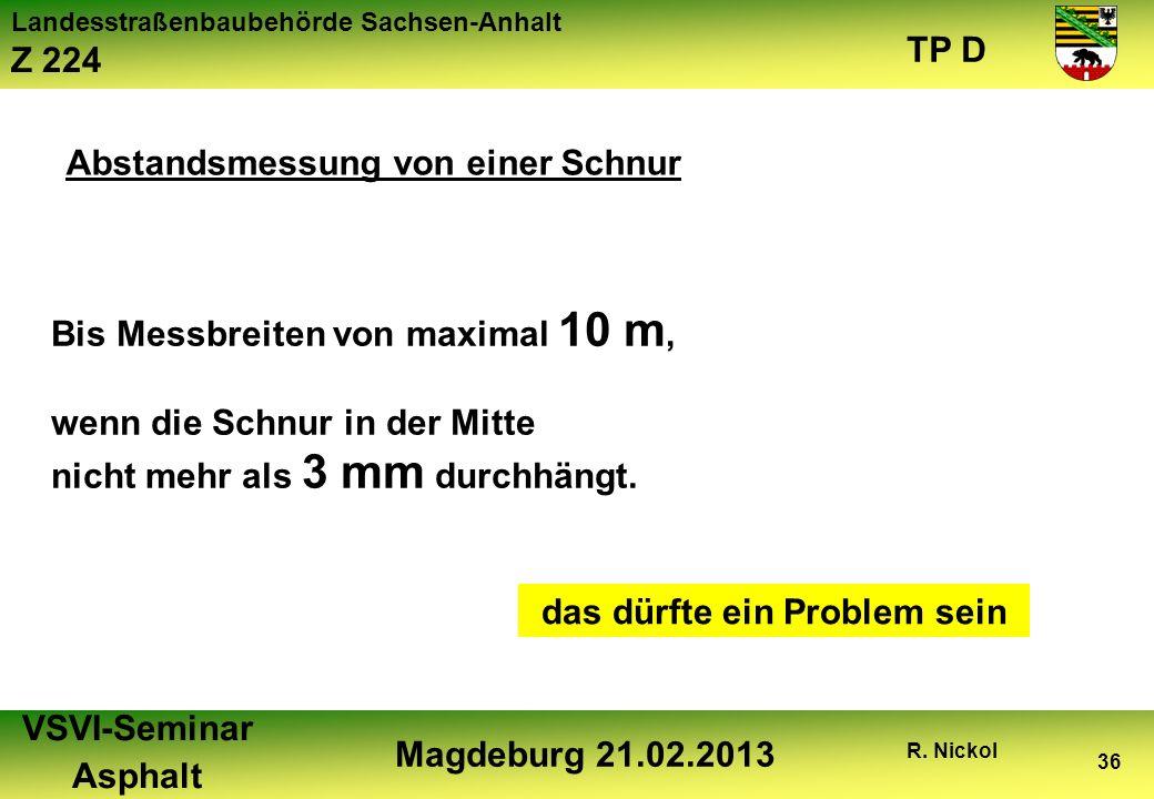 Landesstraßenbaubehörde Sachsen-Anhalt Z 224 TP D VSVI-Seminar Asphalt Magdeburg 21.02.2013 R. Nickol 36 Abstandsmessung von einer Schnur Bis Messbrei