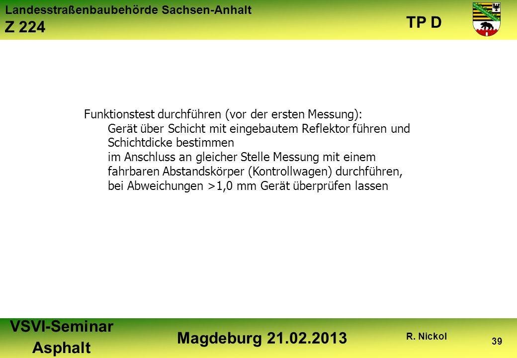Landesstraßenbaubehörde Sachsen-Anhalt Z 224 TP D VSVI-Seminar Asphalt Magdeburg 21.02.2013 R. Nickol 39 Funktionstest durchführen (vor der ersten Mes