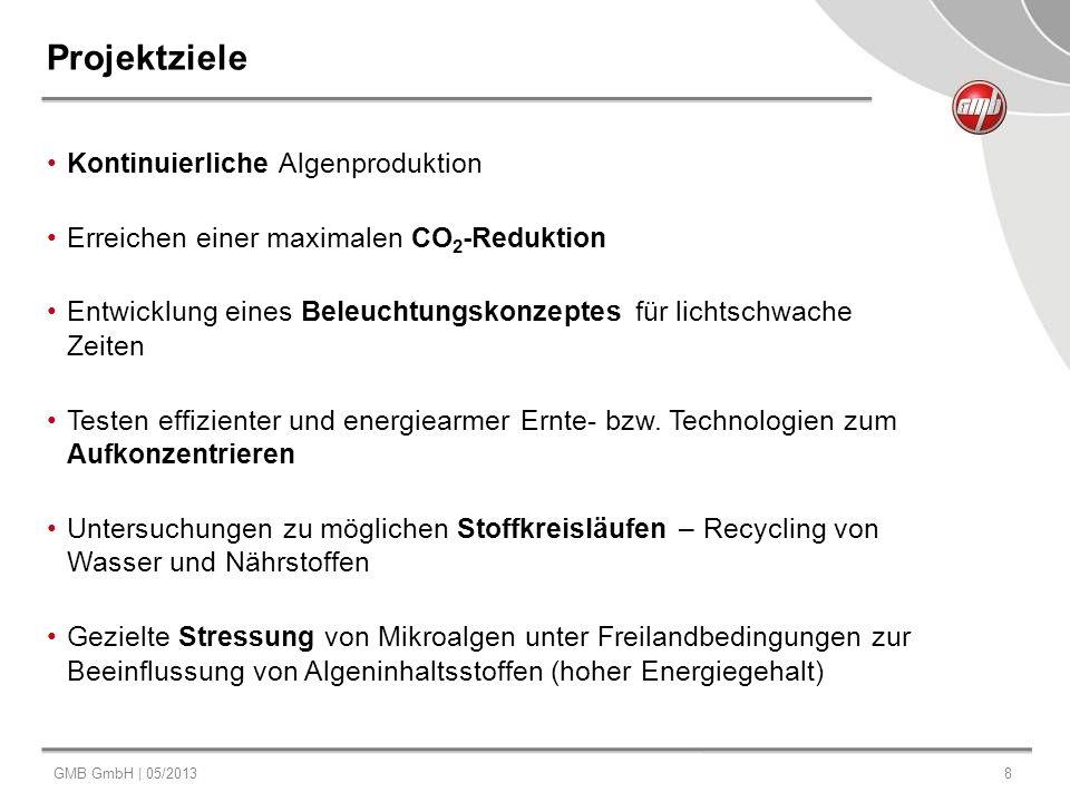 GMB GmbH | 05/20138 Projektziele Kontinuierliche Algenproduktion Erreichen einer maximalen CO 2 -Reduktion Entwicklung eines Beleuchtungskonzeptes für