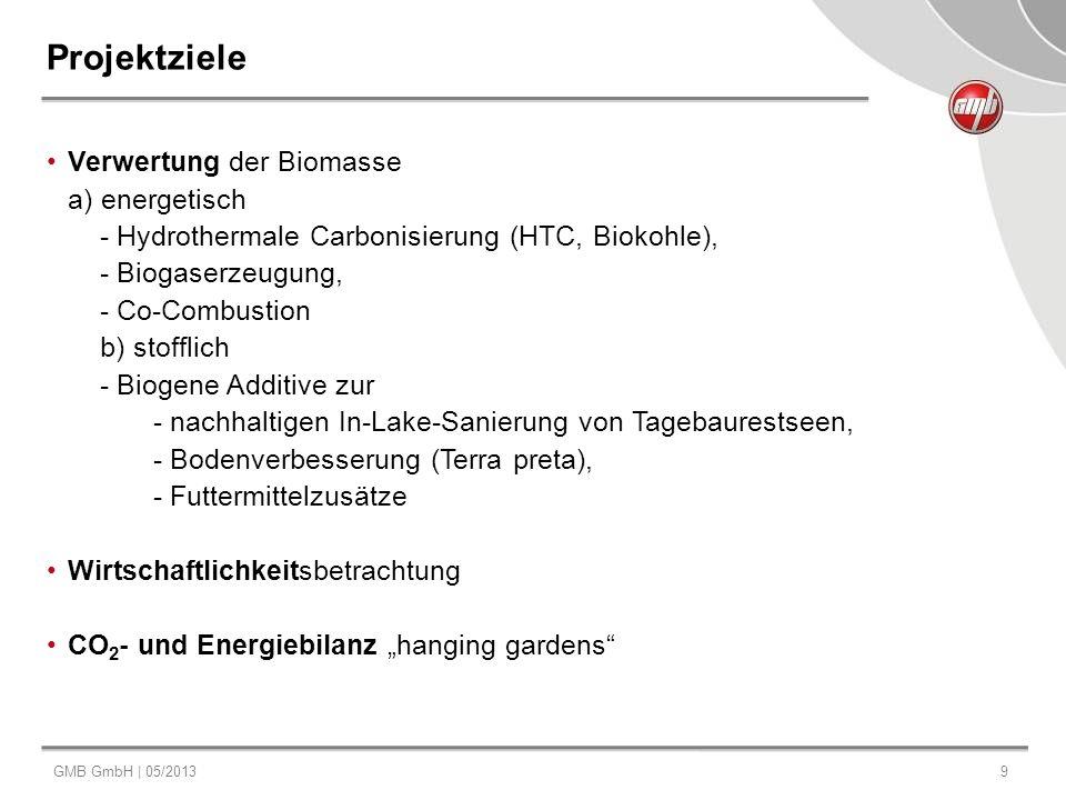 GMB GmbH | 05/20139 Projektziele Verwertung der Biomasse a) energetisch - Hydrothermale Carbonisierung (HTC, Biokohle), - Biogaserzeugung, - Co-Combus