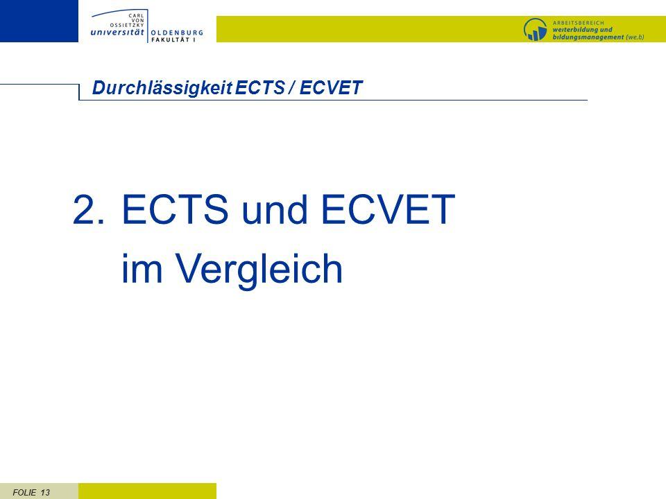 FOLIE 13 Durchlässigkeit ECTS / ECVET 2.ECTS und ECVET im Vergleich