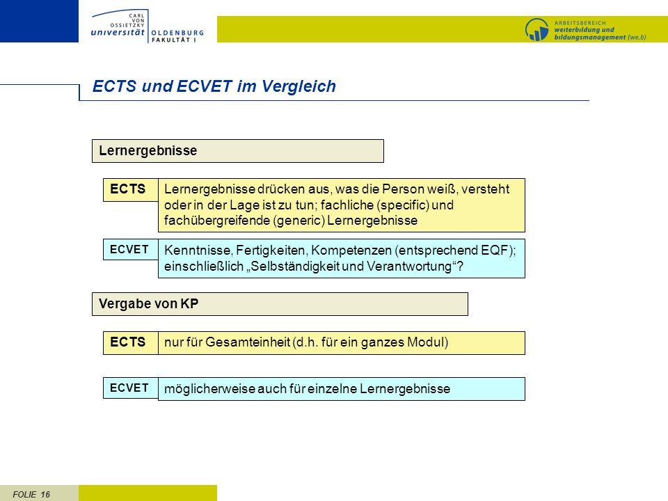 FOLIE 16 ECTS und ECVET im Vergleich Lernergebnisse ECTSLernergebnisse drücken aus, was die Person weiß, versteht oder in der Lage ist zu tun; fachlic