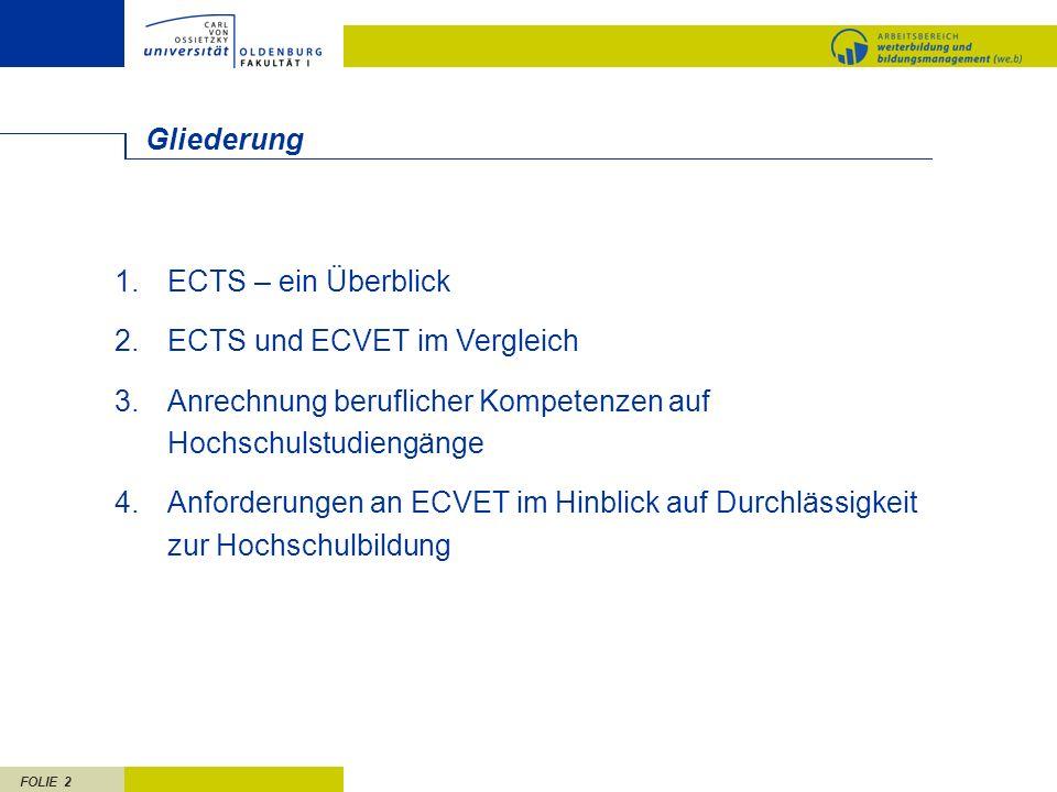 FOLIE 2 Gliederung 1.ECTS – ein Überblick 2.ECTS und ECVET im Vergleich 3.Anrechnung beruflicher Kompetenzen auf Hochschulstudiengänge 4.Anforderungen