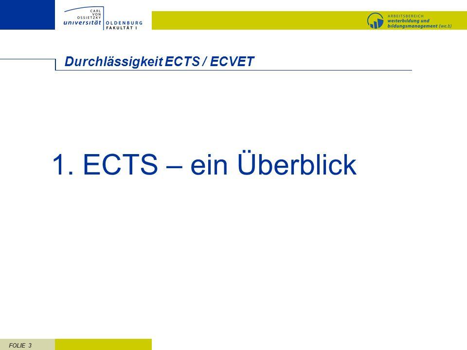 FOLIE 3 Durchlässigkeit ECTS / ECVET 1. ECTS – ein Überblick
