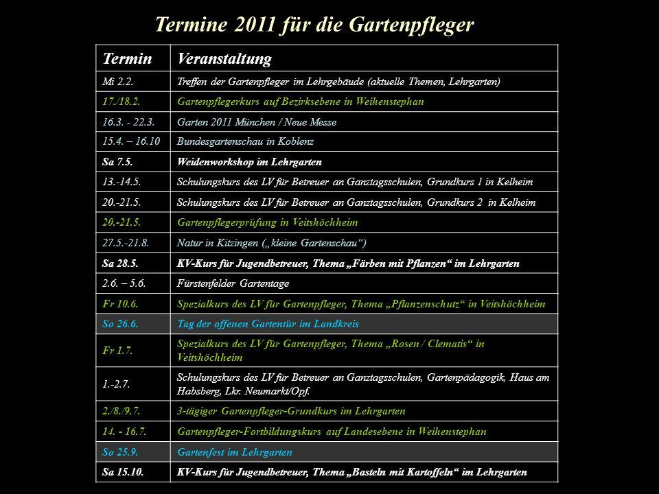TerminVeranstaltung Mi 2.2.Treffen der Gartenpfleger im Lehrgebäude (aktuelle Themen, Lehrgarten) 17./18.2.Gartenpflegerkurs auf Bezirksebene in Weihe
