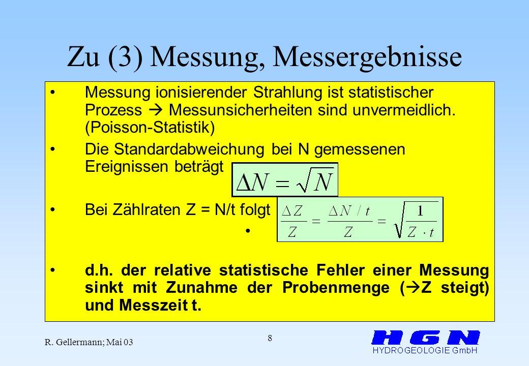 R. Gellermann; Mai 03 8 Zu (3) Messung, Messergebnisse Messung ionisierender Strahlung ist statistischer Prozess Messunsicherheiten sind unvermeidlich