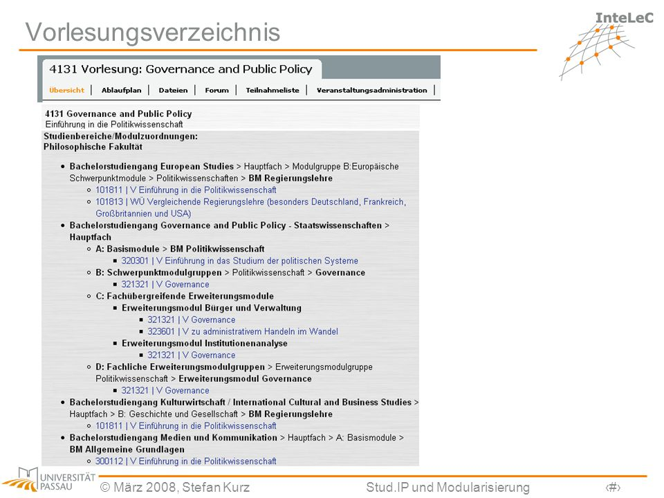 © März 2008, Stefan KurzStud.IP und Modularisierung14 Vorlesungsverzeichnis