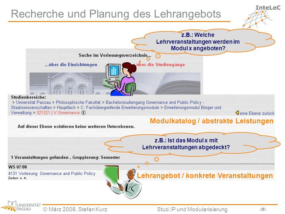 © März 2008, Stefan KurzStud.IP und Modularisierung15 Recherche und Planung des Lehrangebots z.B.: Welche Lehrveranstaltungen werden im Modul x angebo