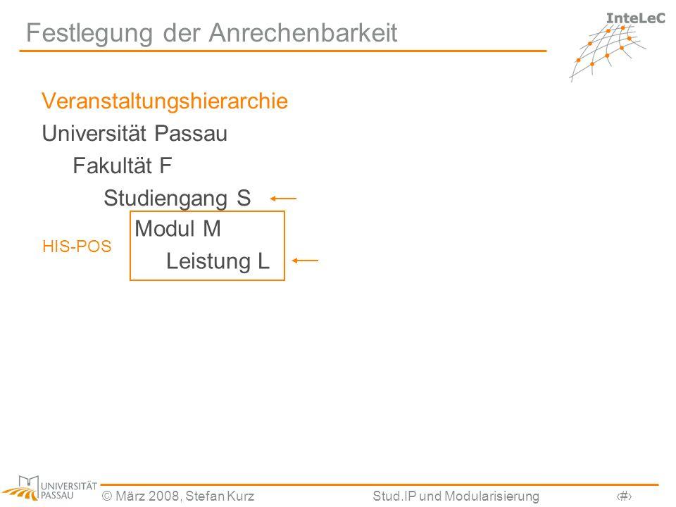 © März 2008, Stefan KurzStud.IP und Modularisierung19 Festlegung der Anrechenbarkeit Veranstaltungshierarchie Universität Passau Fakultät F Studiengan