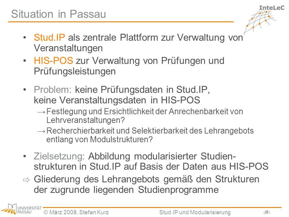 © März 2008, Stefan KurzStud.IP und Modularisierung2 Situation in Passau Stud.IP als zentrale Plattform zur Verwaltung von Veranstaltungen HIS-POS zur