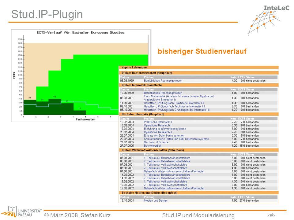 © März 2008, Stefan KurzStud.IP und Modularisierung27 Stud.IP-Plugin bisheriger Studienverlauf