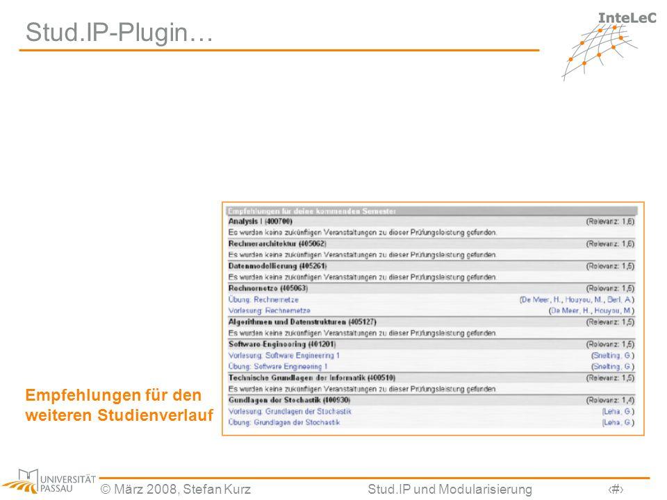 © März 2008, Stefan KurzStud.IP und Modularisierung28 Stud.IP-Plugin… Empfehlungen für den weiteren Studienverlauf