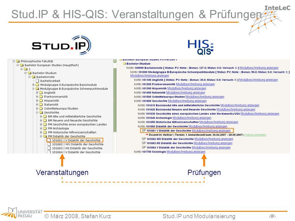 © März 2008, Stefan KurzStud.IP und Modularisierung3 Stud.IP & HIS-QIS: Veranstaltungen & Prüfungen VeranstaltungenPrüfungen QIS
