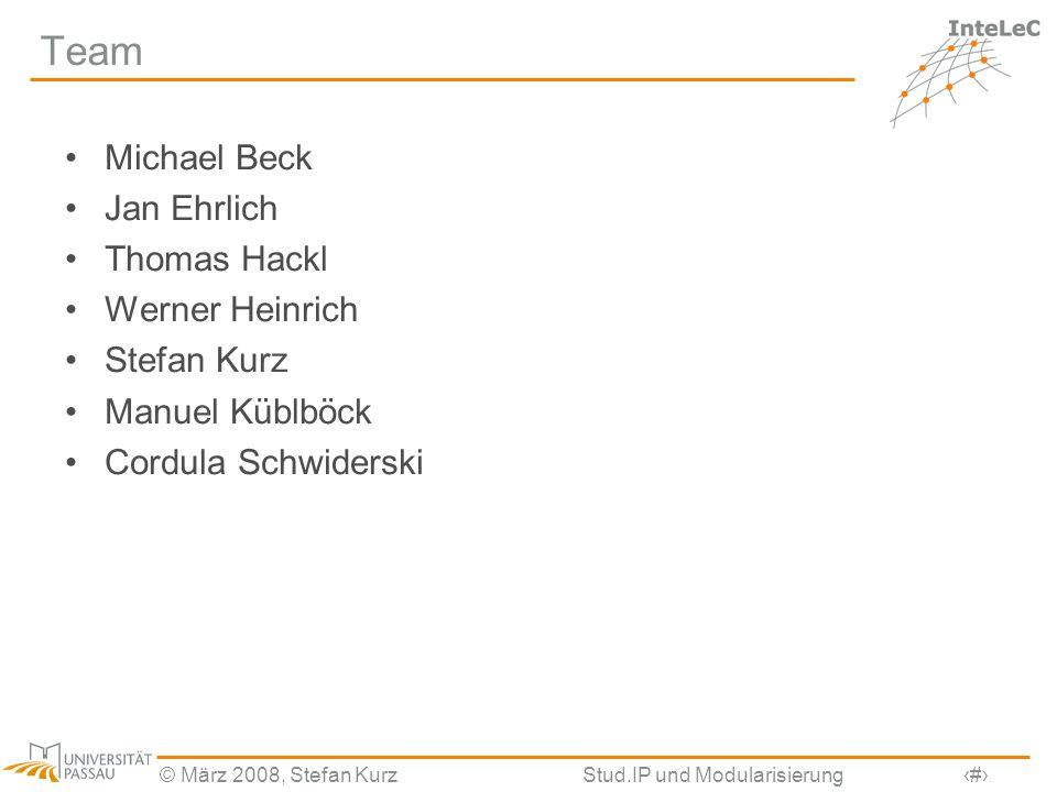 © März 2008, Stefan KurzStud.IP und Modularisierung32 Team Michael Beck Jan Ehrlich Thomas Hackl Werner Heinrich Stefan Kurz Manuel Küblböck Cordula S
