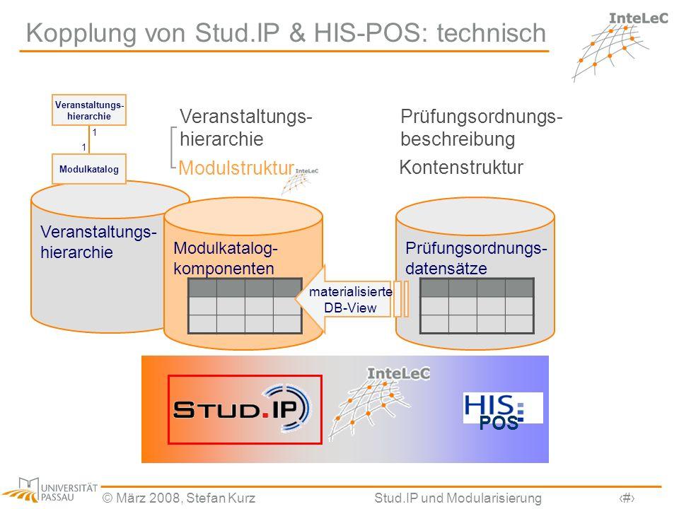 © März 2008, Stefan KurzStud.IP und Modularisierung5 Veranstaltungs- hierarchie Kopplung von Stud.IP & HIS-POS: technisch Prüfungsordnungs- beschreibu