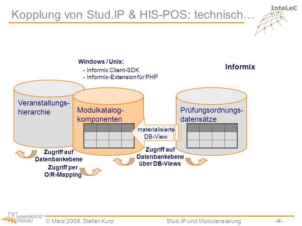 © März 2008, Stefan KurzStud.IP und Modularisierung6 Veranstaltungs- hierarchie Kopplung von Stud.IP & HIS-POS: technisch… Prüfungsordnungs- datensätz