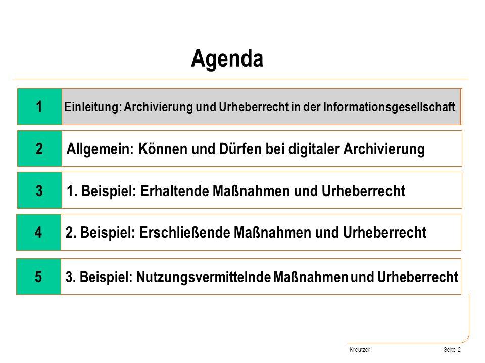 Seite 2 Kreutzer Wandel der Rahmenbedingungen 2Allgemein: Können und Dürfen bei digitaler Archivierung 31. Beispiel: Erhaltende Maßnahmen und Urheberr