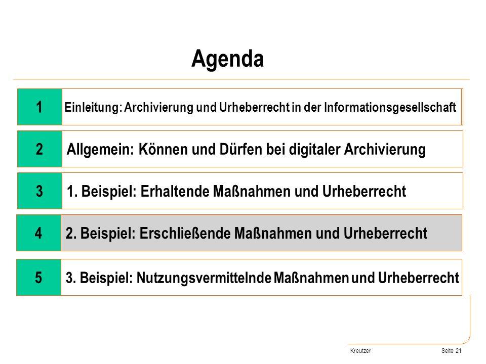 Seite 21 Wandel der Rahmenbedingungen 2Allgemein: Können und Dürfen bei digitaler Archivierung 31. Beispiel: Erhaltende Maßnahmen und Urheberrecht 42.