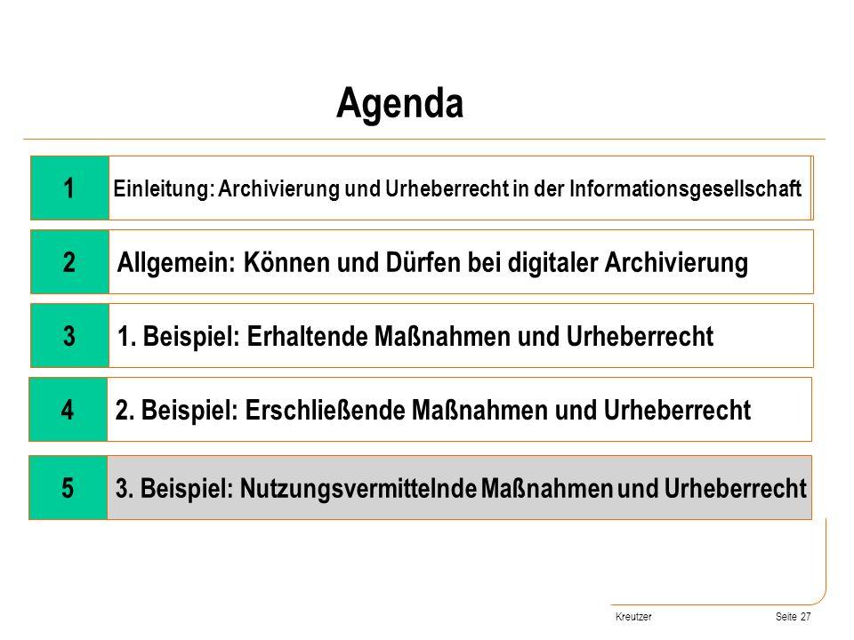 Seite 27 Wandel der Rahmenbedingungen 2Allgemein: Können und Dürfen bei digitaler Archivierung 31. Beispiel: Erhaltende Maßnahmen und Urheberrecht 42.