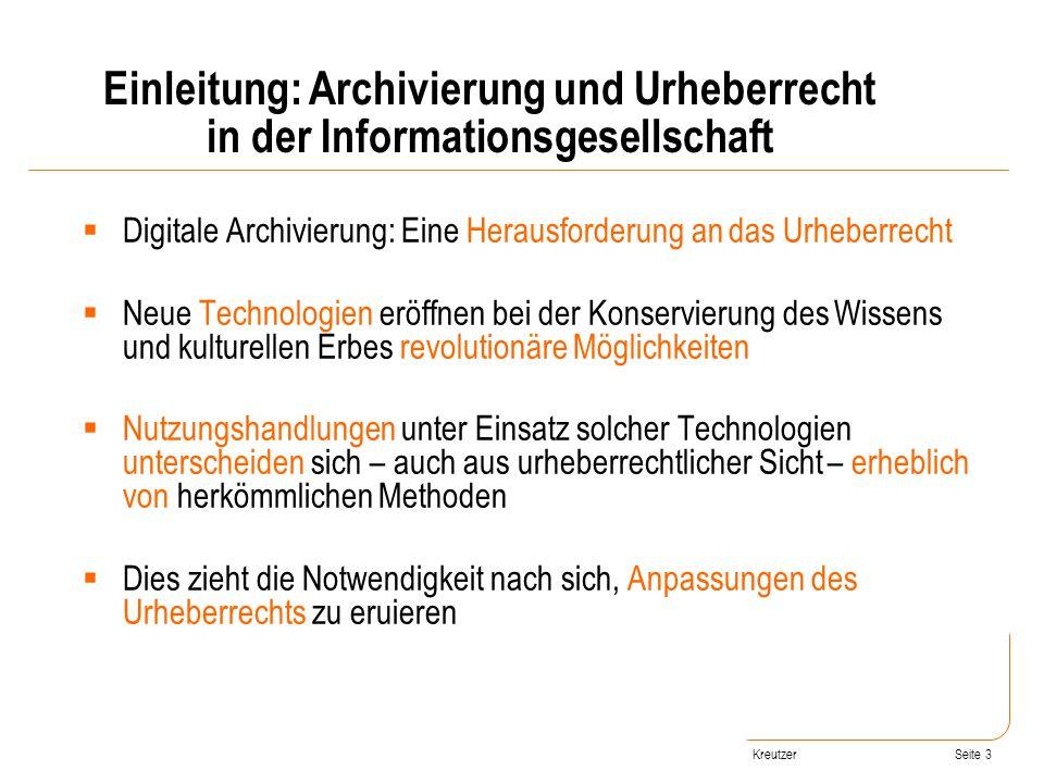 Seite 3 Digitale Archivierung: Eine Herausforderung an das Urheberrecht Neue Technologien eröffnen bei der Konservierung des Wissens und kulturellen E