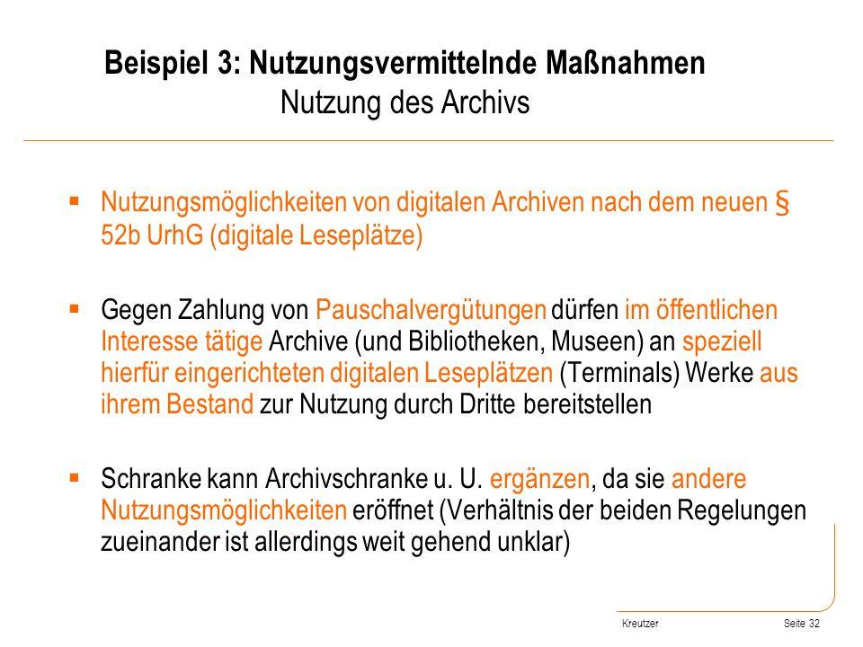 Seite 32 Nutzungsmöglichkeiten von digitalen Archiven nach dem neuen § 52b UrhG (digitale Leseplätze) Gegen Zahlung von Pauschalvergütungen dürfen im