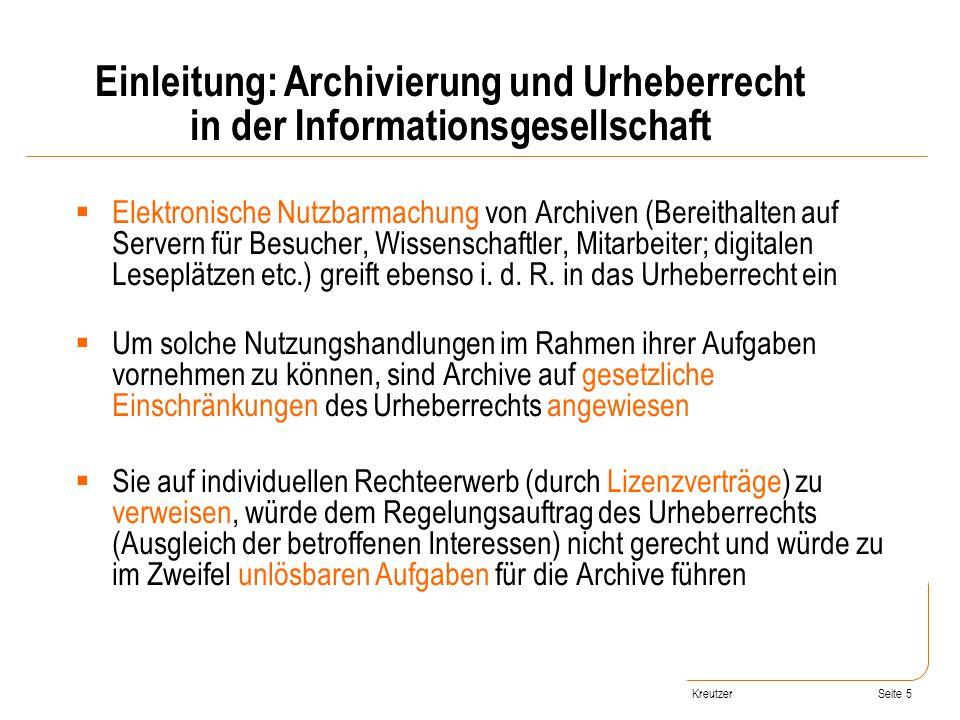 Seite 5 Elektronische Nutzbarmachung von Archiven (Bereithalten auf Servern für Besucher, Wissenschaftler, Mitarbeiter; digitalen Leseplätzen etc.) gr