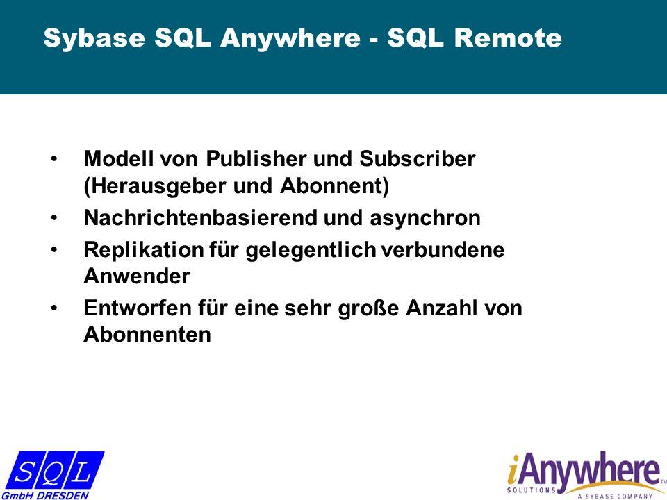 Sybase SQL Anywhere - SQL Remote Modell von Publisher und Subscriber (Herausgeber und Abonnent) Nachrichtenbasierend und asynchron Replikation für gelegentlich verbundene Anwender Entworfen für eine sehr große Anzahl von Abonnenten