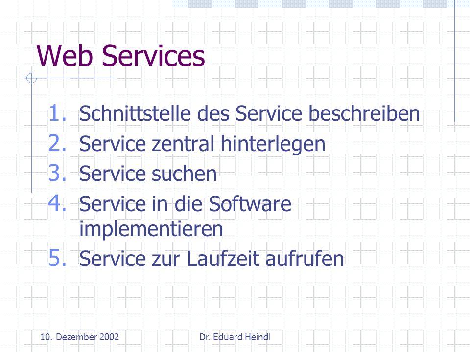 10. Dezember 2002Dr. Eduard Heindl Web Services 1. Schnittstelle des Service beschreiben 2. Service zentral hinterlegen 3. Service suchen 4. Service i