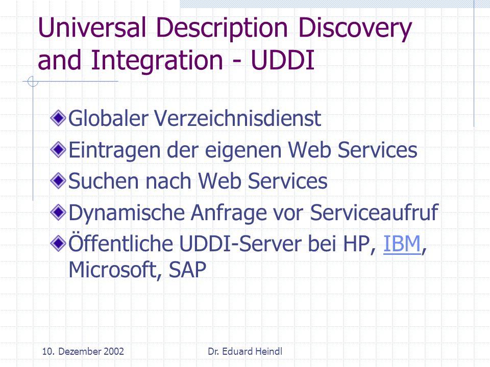10. Dezember 2002Dr. Eduard Heindl Universal Description Discovery and Integration - UDDI Globaler Verzeichnisdienst Eintragen der eigenen Web Service