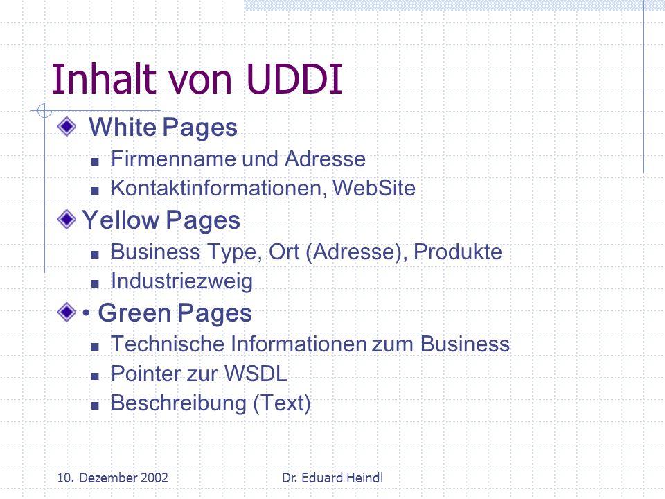 10. Dezember 2002Dr. Eduard Heindl Inhalt von UDDI White Pages Firmenname und Adresse Kontaktinformationen, WebSite Yellow Pages Business Type, Ort (A