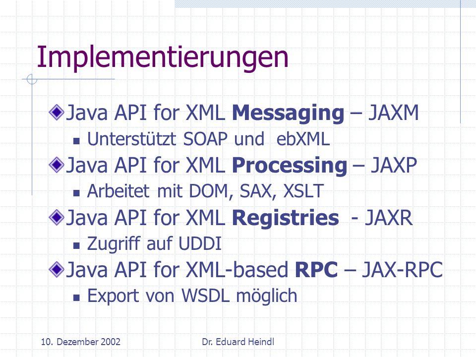 10. Dezember 2002Dr. Eduard Heindl Implementierungen Java API for XML Messaging – JAXM Unterstützt SOAP und ebXML Java API for XML Processing – JAXP A