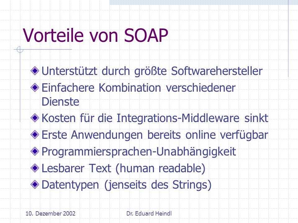 10. Dezember 2002Dr. Eduard Heindl Vorteile von SOAP Unterstützt durch größte Softwarehersteller Einfachere Kombination verschiedener Dienste Kosten f