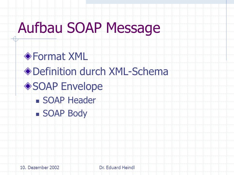 10. Dezember 2002Dr. Eduard Heindl Aufbau SOAP Message Format XML Definition durch XML-Schema SOAP Envelope SOAP Header SOAP Body