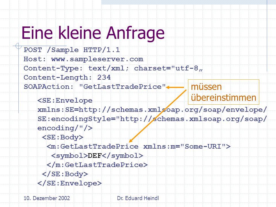 10. Dezember 2002Dr. Eduard Heindl POST /Sample HTTP/1.1 Host: www.sampleserver.com Content-Type: text/xml; charset=