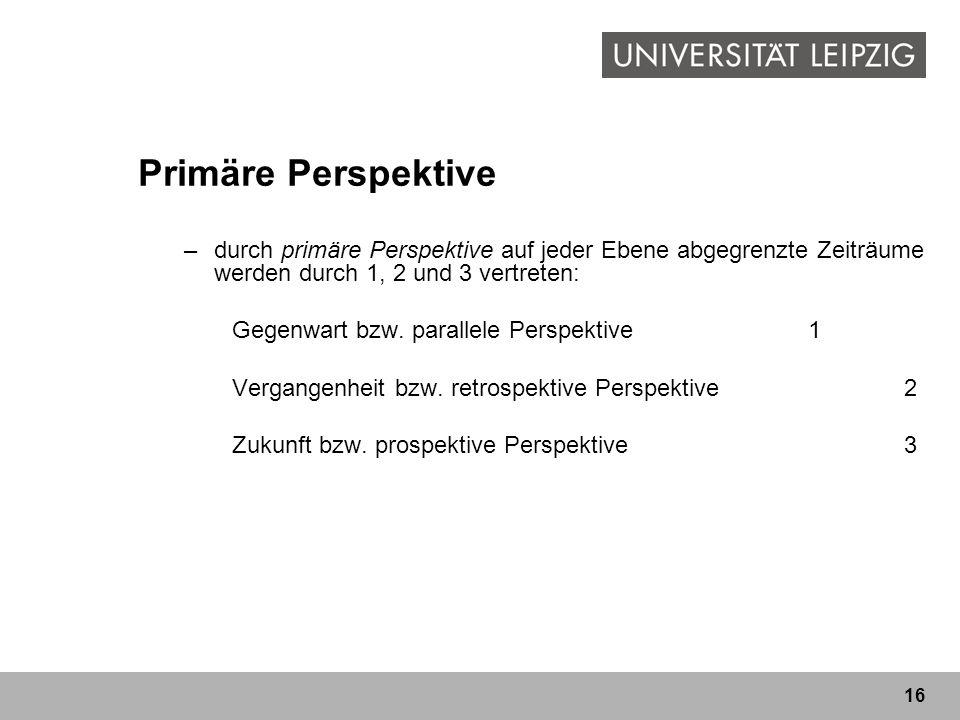 16 Primäre Perspektive –durch primäre Perspektive auf jeder Ebene abgegrenzte Zeiträume werden durch 1, 2 und 3 vertreten: Gegenwart bzw. parallele Pe