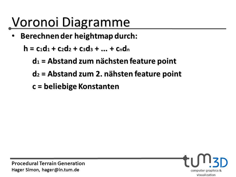 computer graphics & visualization Procedural Terrain Generation Hager Simon, hager@in.tum.de Voronoi Diagramme Berechnen der heightmap durch: Berechne