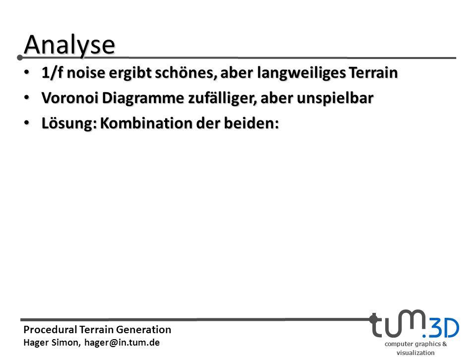 computer graphics & visualization Procedural Terrain Generation Hager Simon, hager@in.tum.de Analyse 1/f noise ergibt schönes, aber langweiliges Terrain 1/f noise ergibt schönes, aber langweiliges Terrain Voronoi Diagramme zufälliger, aber unspielbar Voronoi Diagramme zufälliger, aber unspielbar Lösung: Kombination der beiden: Lösung: Kombination der beiden: