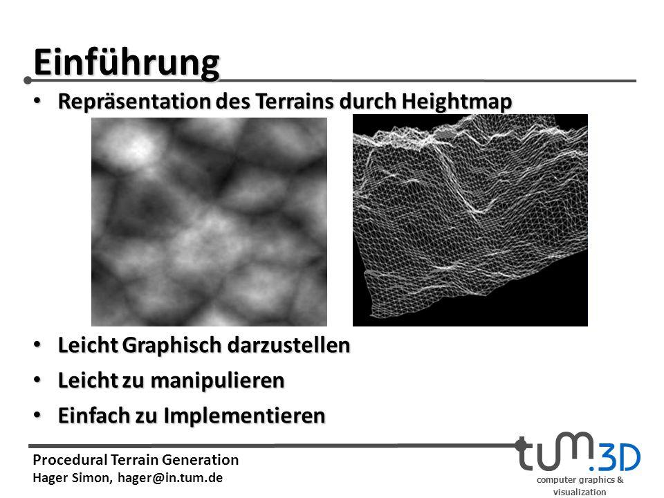 computer graphics & visualization Procedural Terrain Generation Hager Simon, hager@in.tum.de Einführung Leicht Graphisch darzustellen Leicht Graphisch darzustellen Leicht zu manipulieren Leicht zu manipulieren Einfach zu Implementieren Einfach zu Implementieren Repräsentation des Terrains durch Heightmap Repräsentation des Terrains durch Heightmap