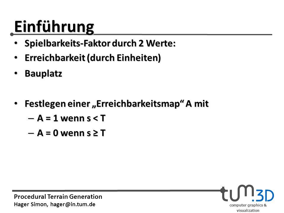 computer graphics & visualization Procedural Terrain Generation Hager Simon, hager@in.tum.de Einführung Spielbarkeits-Faktor durch 2 Werte: Spielbarkeits-Faktor durch 2 Werte: Erreichbarkeit (durch Einheiten) Erreichbarkeit (durch Einheiten) Bauplatz Bauplatz Festlegen einer Erreichbarkeitsmap A mit Festlegen einer Erreichbarkeitsmap A mit – A = 1 wenn s < T – A = 0 wenn s T