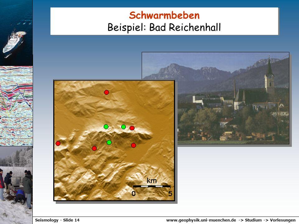 www.geophysik.uni-muenchen.de -> Studium -> VorlesungenSeismology - Slide 13 Was sind Schwarmbeben? Beispiel: Vogtland