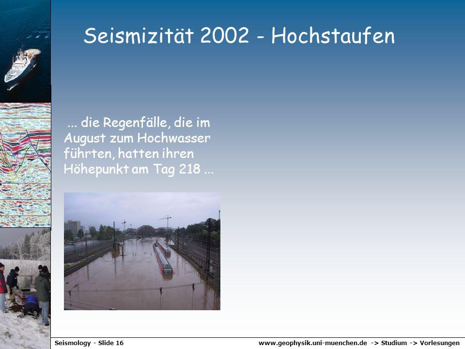 www.geophysik.uni-muenchen.de -> Studium -> VorlesungenSeismology - Slide 15 Schwarmbeben Beispiel: Bad Reichenhall